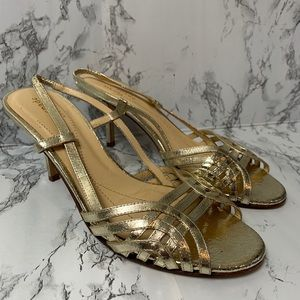 Kate Spade Gold Strappy open toe Slingbacks Sz 6